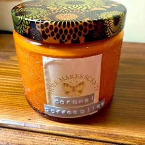 Hand poured caramel coffee scented soy wax candle